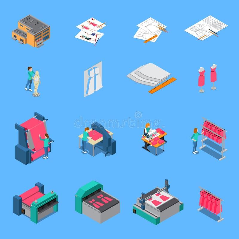 Odzieżowe Fabryczne Isometric ikony Ustawiać ilustracji