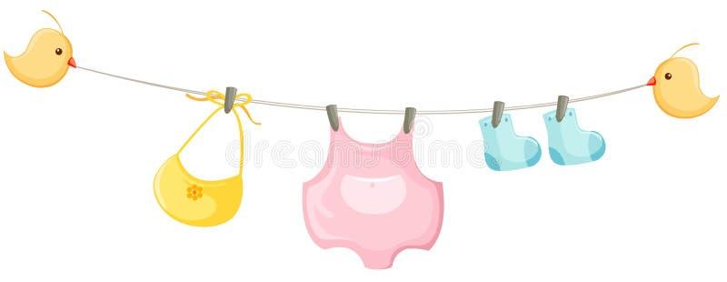 odzieżowy dziecka clothesline royalty ilustracja
