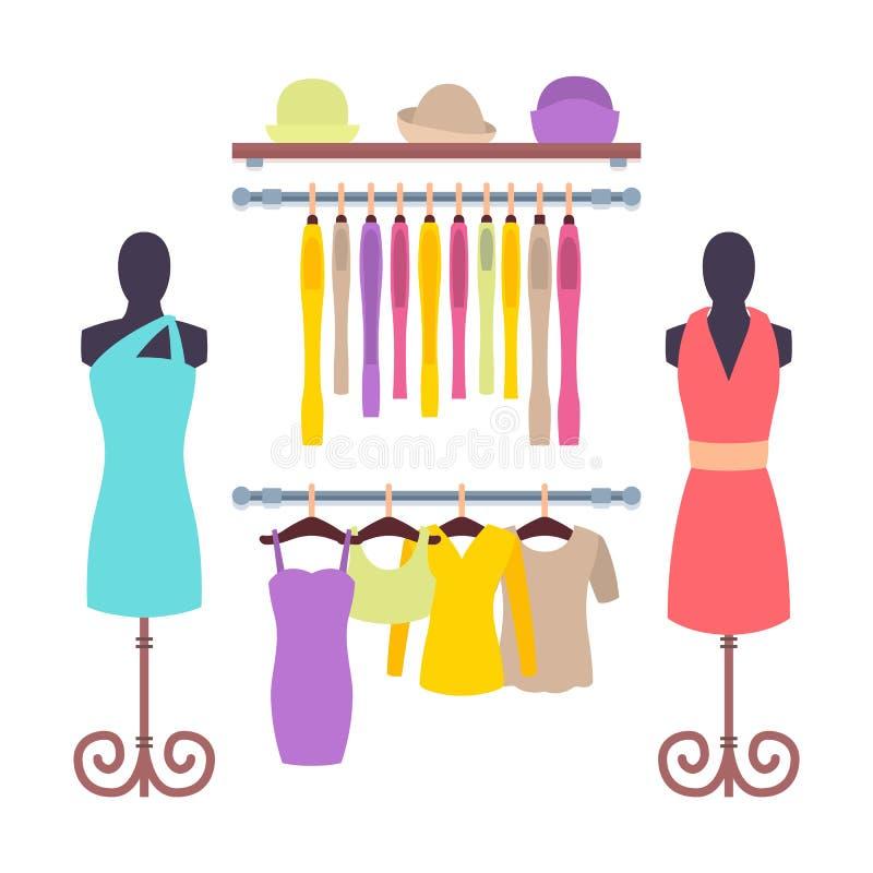 Odzieżowy obwieszenie na wieszakach w kobieta sklepie odzieżowym ilustracja wektor