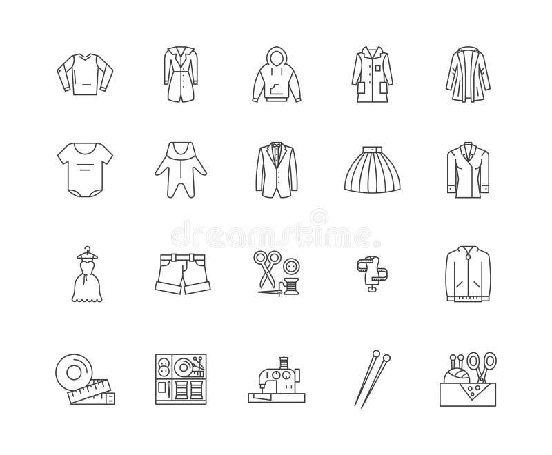 Odzie?y biznesowej linii ikony, znaki, wektoru set, kontur ilustracji poj?cie ilustracja wektor
