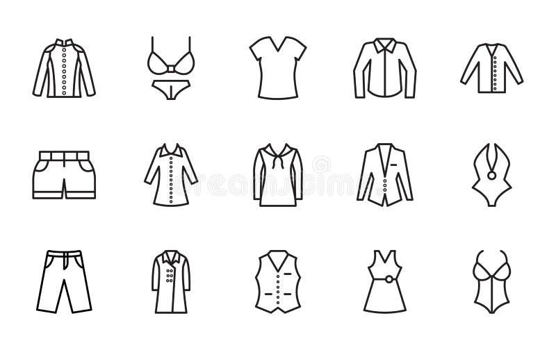 Odziewać Odosobnione Wektorowe ikony które mogą łatwo redagować lub modyfikować Ustawia ilustracji