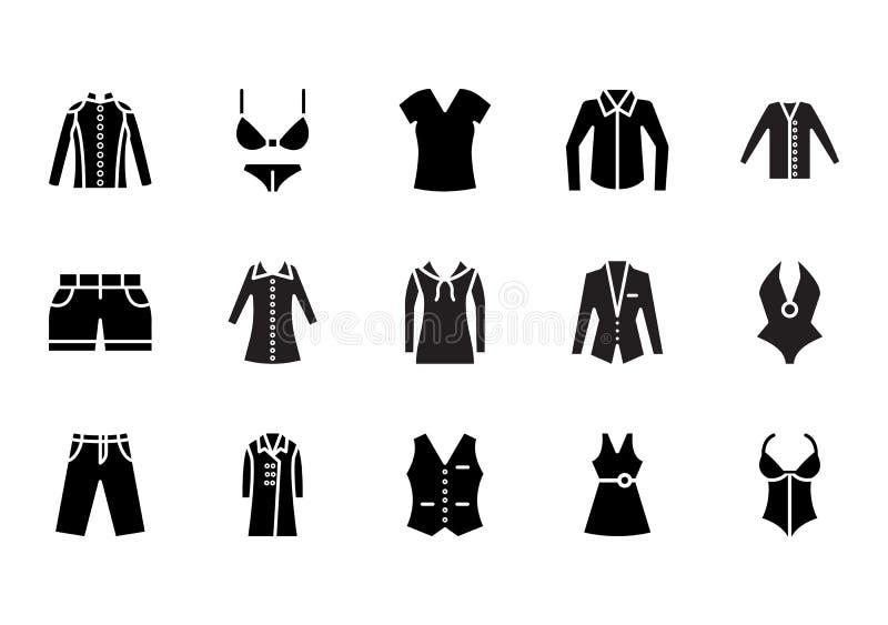 Odziewać Odosobnione Wektorowe ikony które mogą łatwo redagować lub modyfikować Ustawia ilustracja wektor