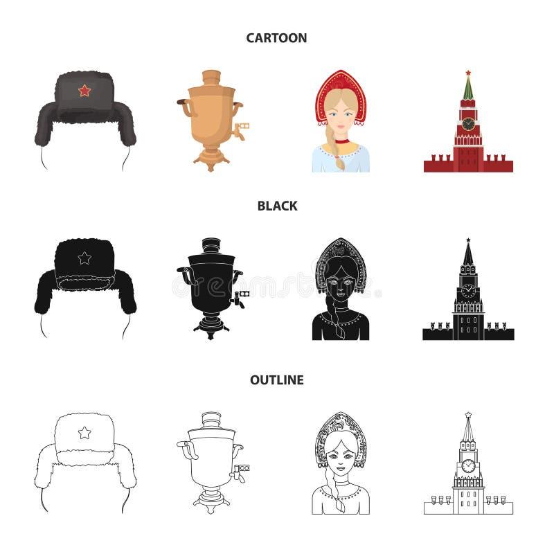 Odziewa, kobieta, Kremlin, buduje Rosja kraju ustalone inkasowe ikony w kreskówce, czerń, konturu stylowy wektorowy symbol ilustracji