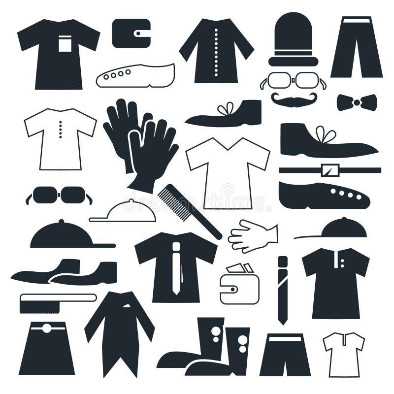 Odziewa - mod Wektorowe Płaskie ikony royalty ilustracja