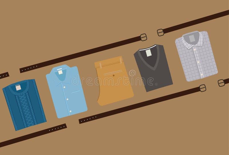 Odziewa mody tło Menswear pojęcie Mieszkanie stylowi mężczyzna Odziewa Wektorową ilustrację eps 10 ilustracji