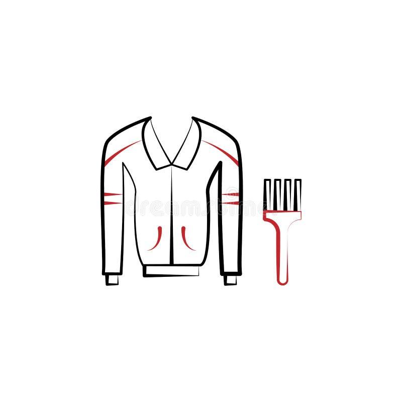 odziewa, naprawia 2 barwiącą kreskową ikonę, kurtka, skóra, Prosta barwiona element ilustracja odziewa, kurtka, skóra, naprawa ilustracja wektor