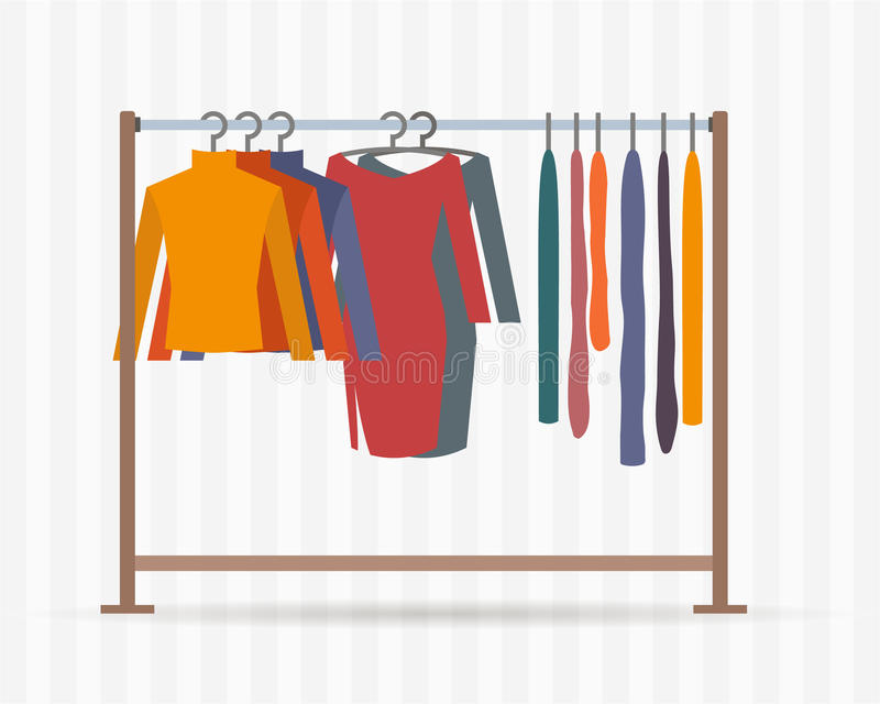 Odziewa stojaki z sukniami na wieszakach ilustracji