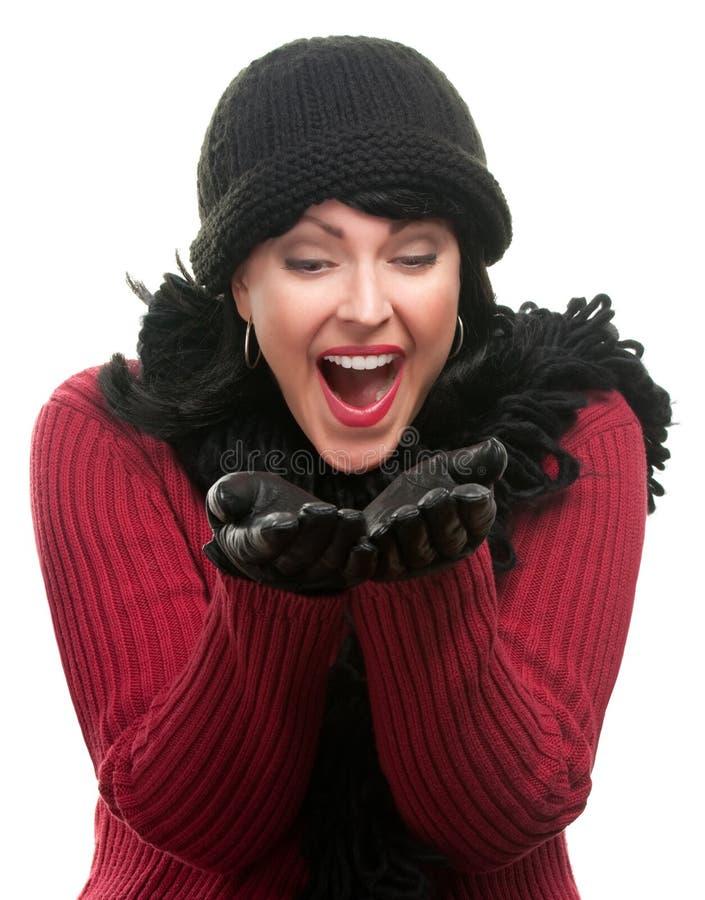 odziewa z podnieceniem ręk chwytów z podnieceniem zima kobiety zdjęcie royalty free