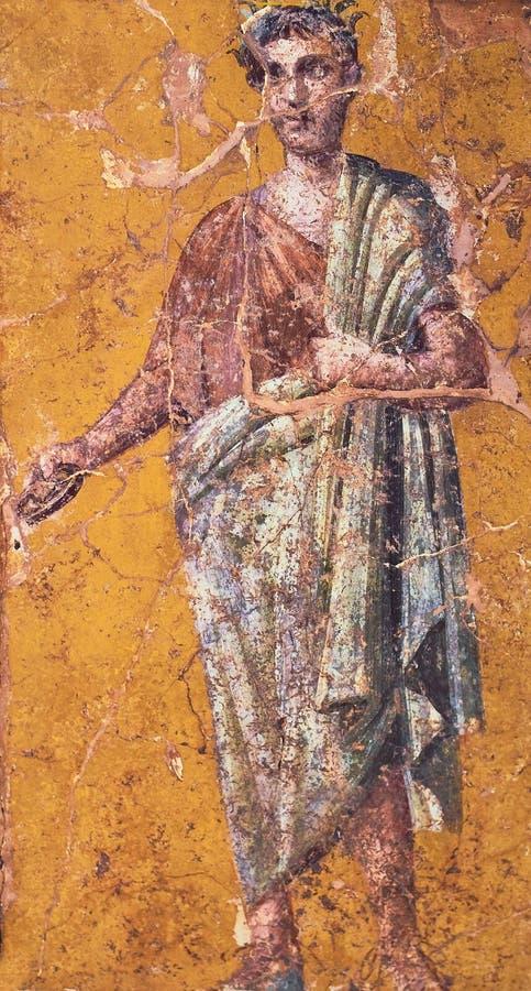 Odziewający w antycznym Rzym, postać Romański mężczyzna malował w fresku w Domus Pompeii obraz stock