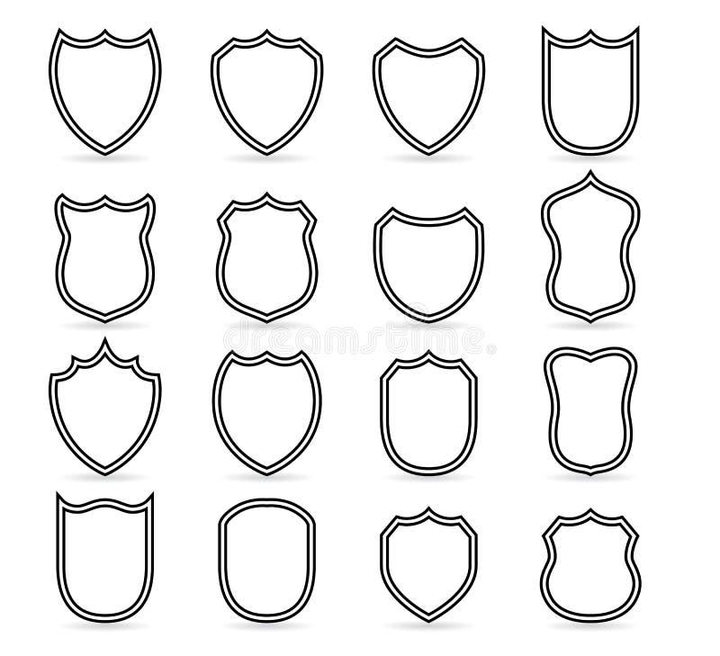 Odznak łat konturu wektorowi szablony Sporta klub, osłona i żakiet ręk puste ikony wektorowe, militarna lub heraldyczna royalty ilustracja