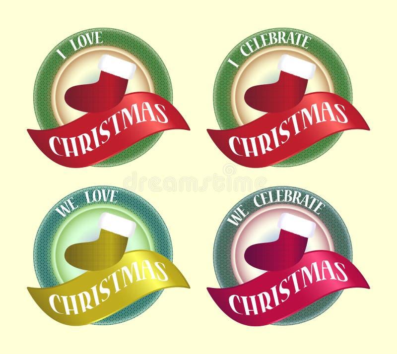 odznaka świętuje bożych narodzeń projekta ikony loga symbol royalty ilustracja