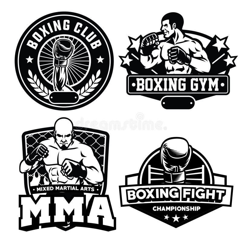 Odznaka boksu klubu set ilustracji