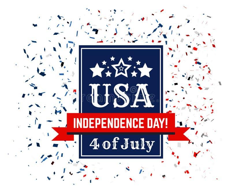 Odznaka gratulacje na USA dniu niepodległości Czwarty Lipiec na tle confetti w kolorach ilustracja wektor