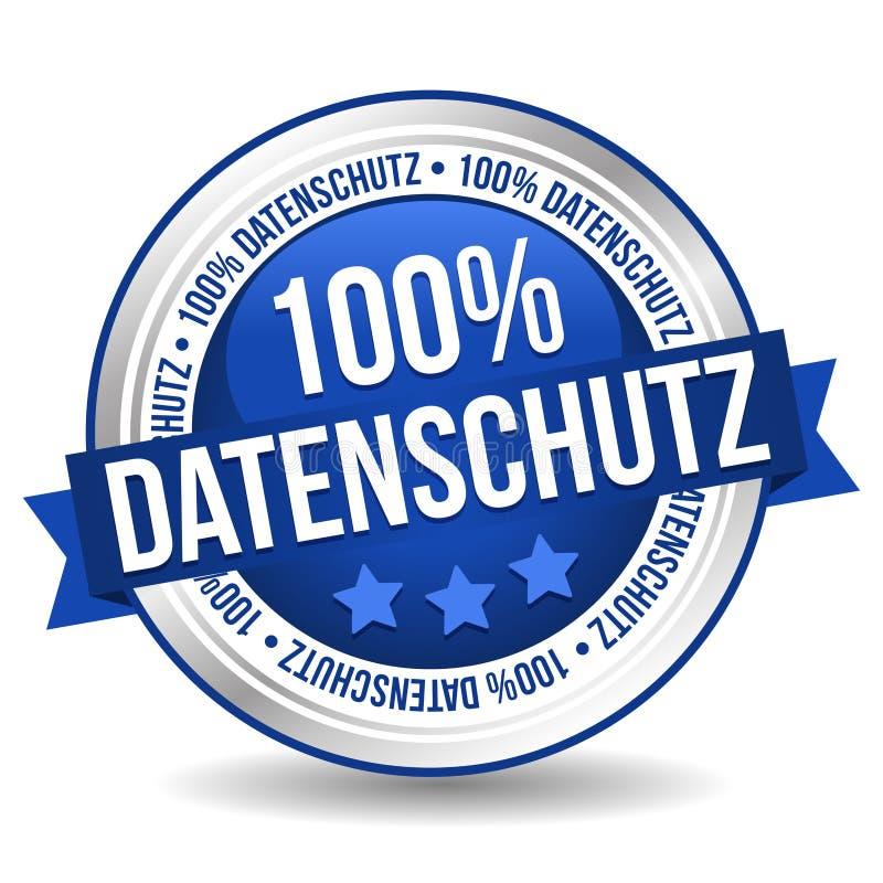 Odznaka guzika sztandar przekład: - 100% dane Ochraniający - 100% Datenschutz ilustracji