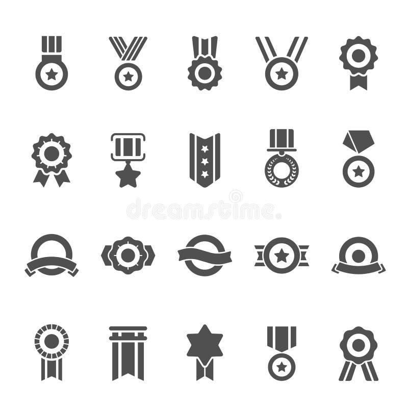 Odznaka Nagradza wektorowe stałe ikony ustawiać royalty ilustracja