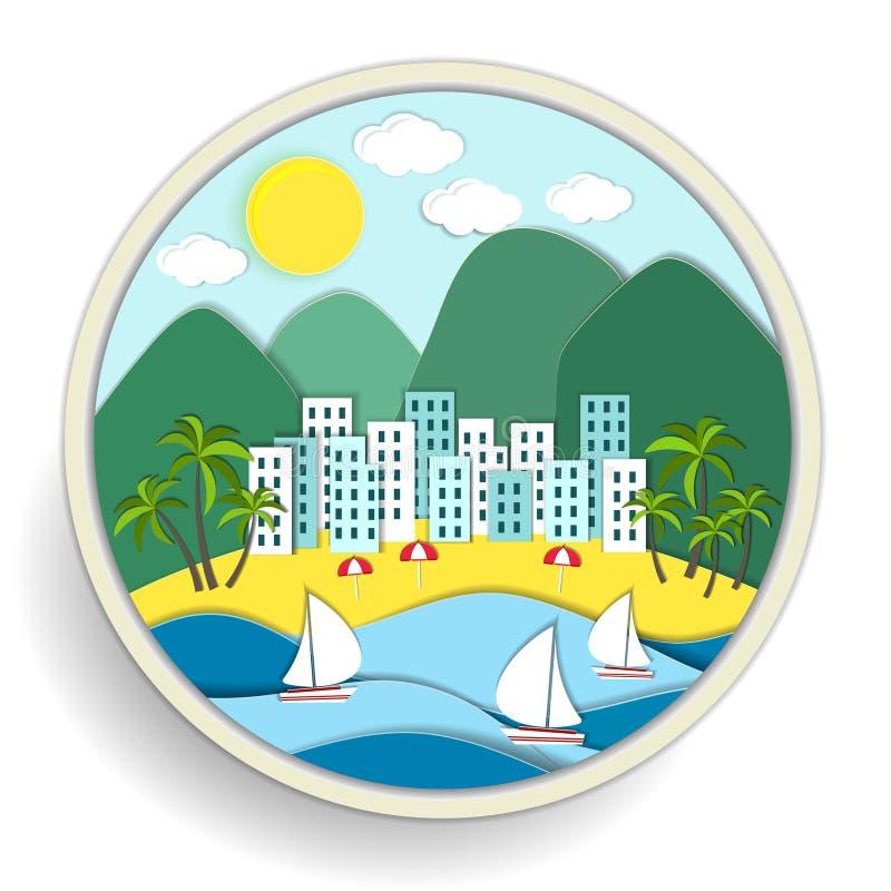 Odznaka przedstawia wakacje przy morzem ilustracja wektor