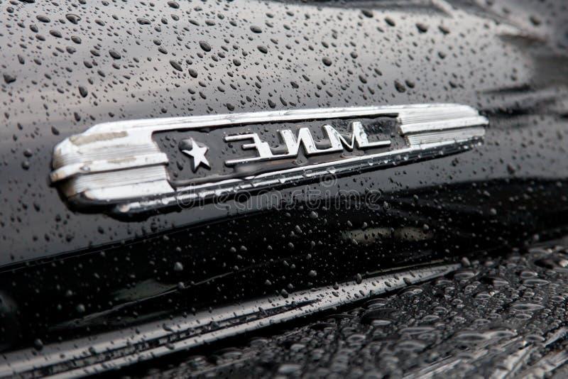 Odznaka retro ZIMA samochody zdjęcie stock