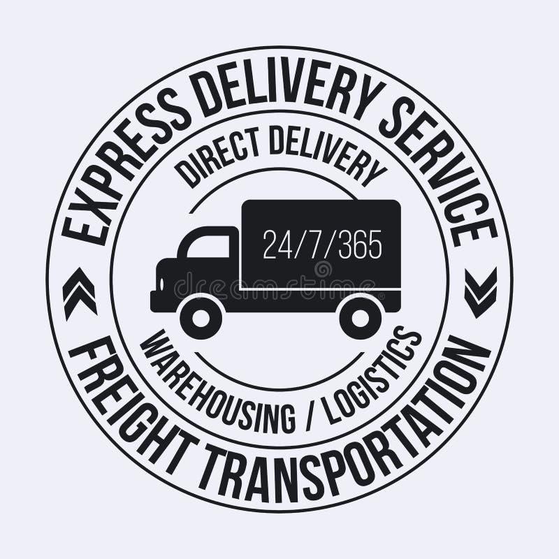 Odznaka szablon szybka doręczeniowa ładunek ciężarówka Frachtowa transport etykietka ilustracja wektor