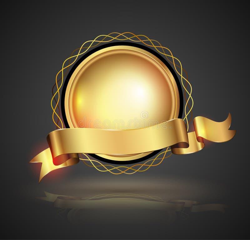 odznaka wyszczególniający złocisty ilustracyjny przedstawienia wektor royalty ilustracja