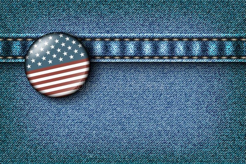 Odznaka z flaga amerykańską ilustracji
