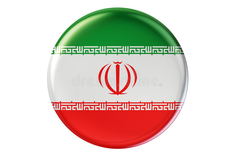 Odznaka z flaga Iran, 3D rendering ilustracji
