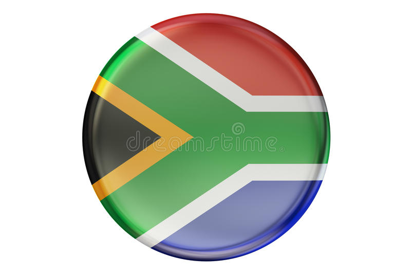 Odznaka z flaga Południowa Afryka, 3D rendering ilustracji