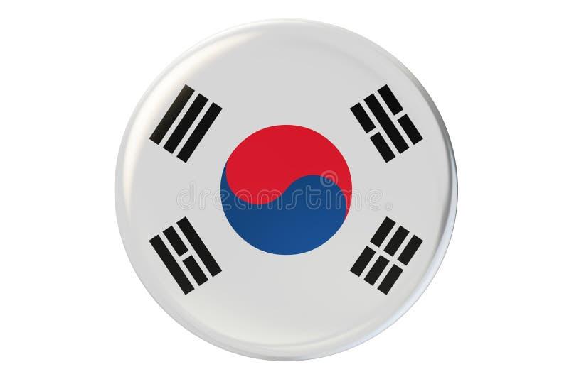 Odznaka z flaga Południowy Korea, 3D rendering ilustracja wektor