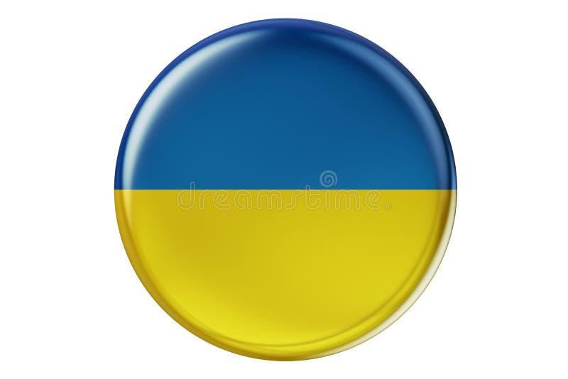 Odznaka z flaga Ukraina, 3D rendering ilustracji