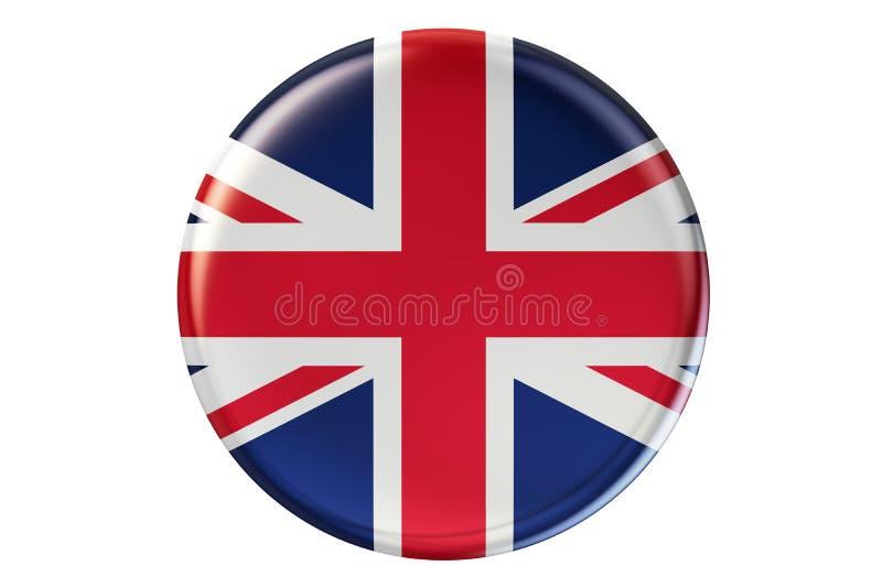 Odznaka z flaga Zjednoczone Królestwo, 3D rendering royalty ilustracja