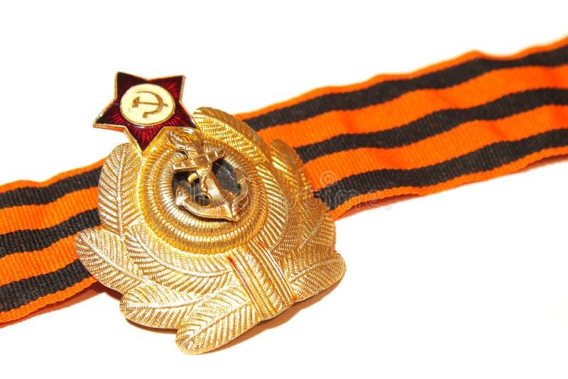 Odznaka z St George tasiemkowymi morskimi siłami USSR zdjęcie stock