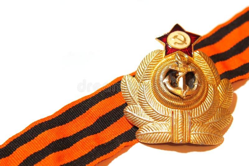 Odznaka z St George tasiemkowymi morskimi siłami USSR obraz stock