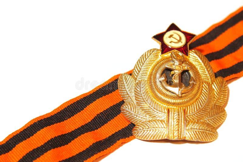 Odznaka z St George tasiemkowymi morskimi siłami USSR obrazy royalty free