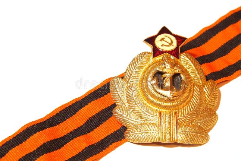 Odznaka z St George tasiemkowymi morskimi siłami USSR zdjęcia royalty free