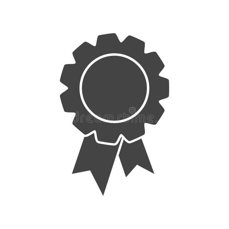 Odznaka z tasiemkową ikoną Wektorowa ilustracja w mieszkanie stylu na whi royalty ilustracja