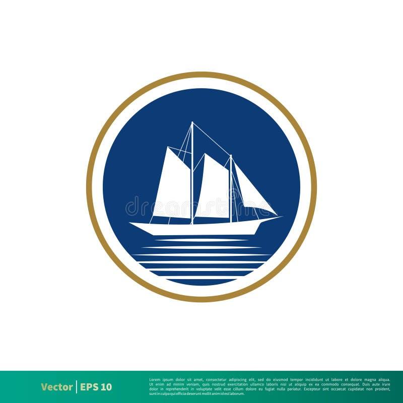 Odznaki żeglowania ikony logo Łódkowatego Wektorowego szablonu Ilustracyjny projekt Wektor EPS 10 royalty ilustracja