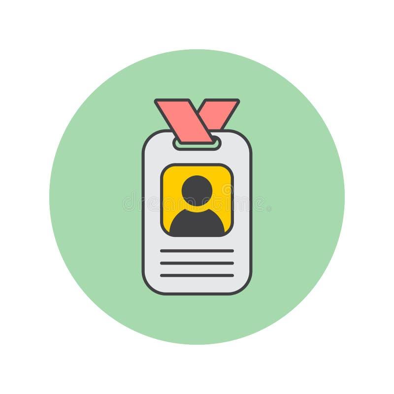 Odznaki cienka kreskowa ikona, karta identyfikacyjna wypełniał konturu wektor ilustracji