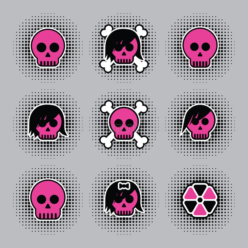 odznaki czaszka ilustracja wektor