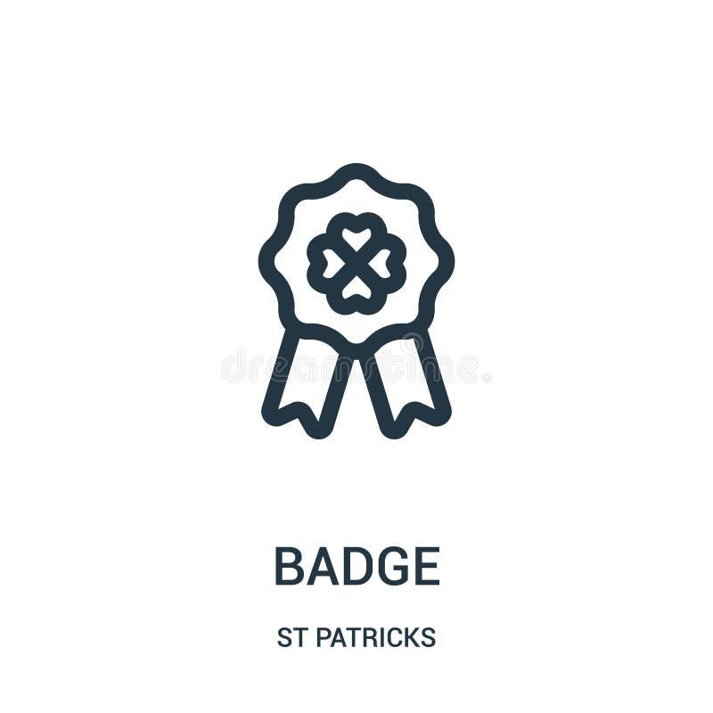odznaki ikony wektor od st patricks inkasowych Cienka kreskowa odznaka konturu ikony wektoru ilustracja Liniowy symbol dla używa  royalty ilustracja