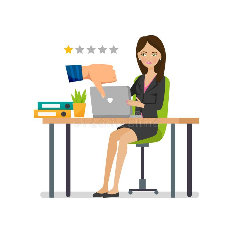 Odznaki niechęć Negatywnej oceny pracująca wydajność Testimonials, negatywna informacje zwrotne ilustracji