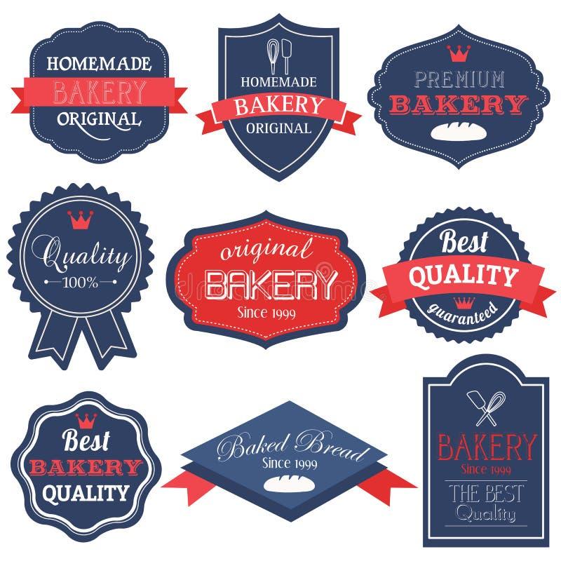 odznaki piekarnia przylepiać etykietkę retro rocznika zdjęcie royalty free