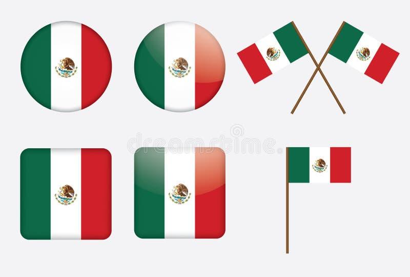 Odznaki z flaga Meksyk royalty ilustracja