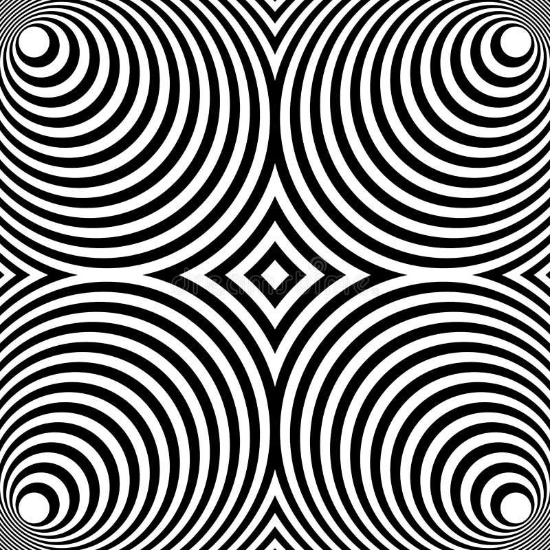 Odzwierciedlający symetryczny wzór z koncentrycznymi okręgami Abstrakt m ilustracja wektor
