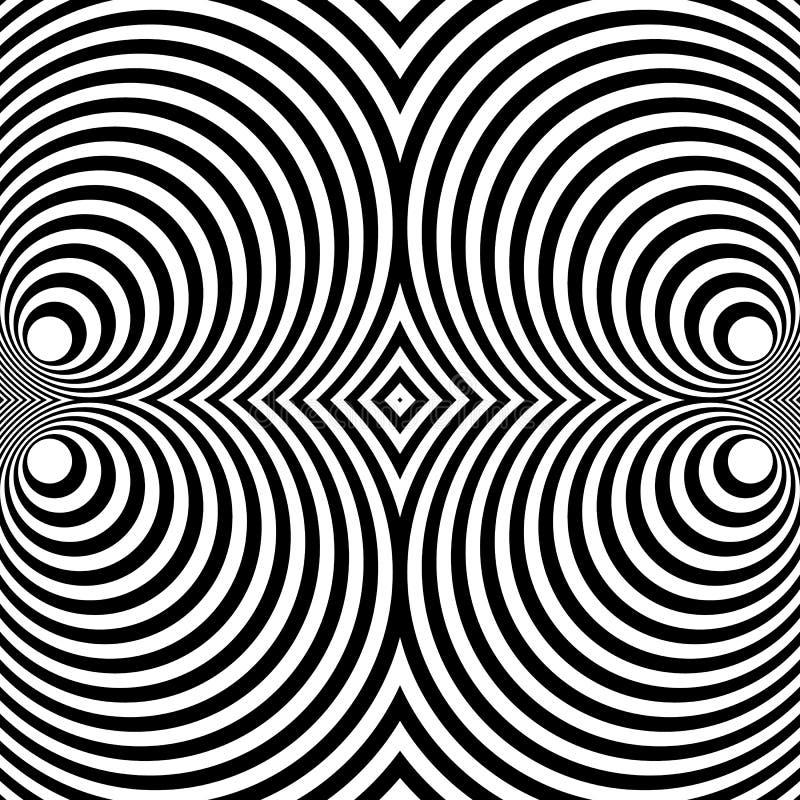Odzwierciedlający symetryczny wzór z koncentrycznymi okręgami Abstrakt m royalty ilustracja