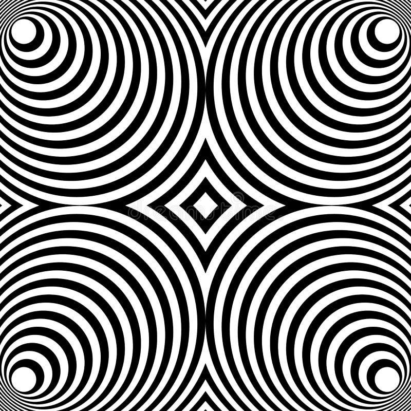 Odzwierciedlający symetryczny wzór z koncentrycznymi okręgami Abstrakt m ilustracji