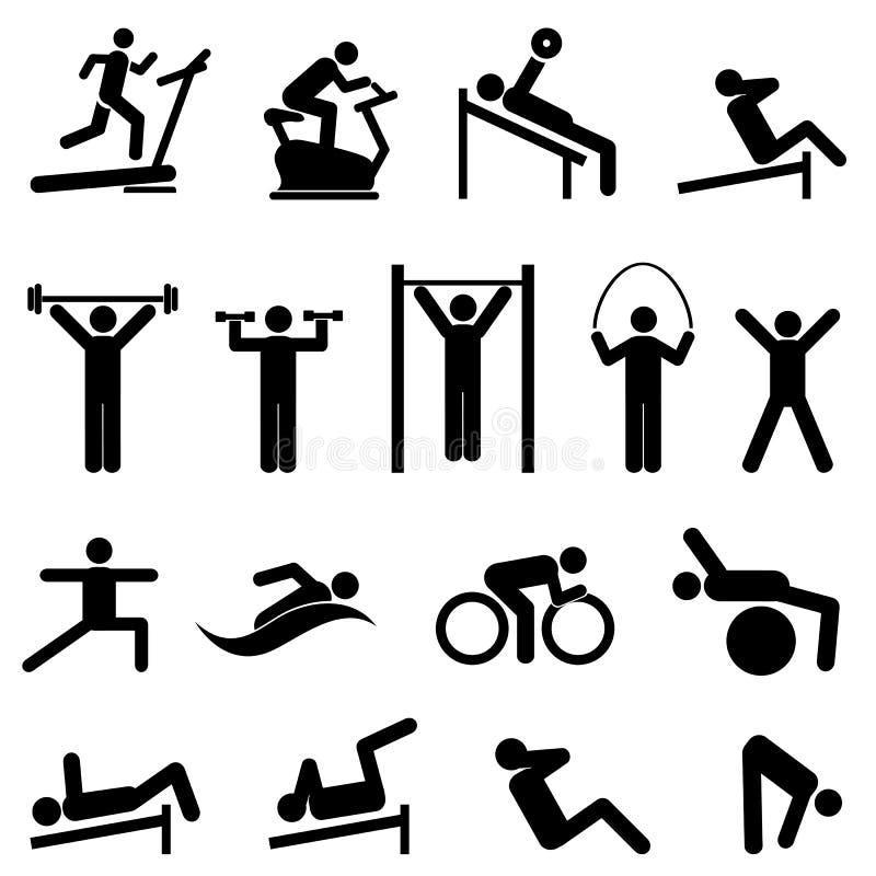Oefening, geschiktheids, gezondheids en gymnastiekpictogrammen royalty-vrije illustratie