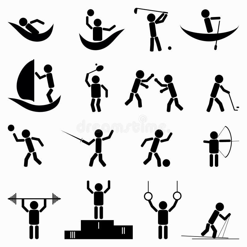 Oefening, geschiktheids, gezondheids en gymnastiekpictogrammen vectorillustratie royalty-vrije illustratie