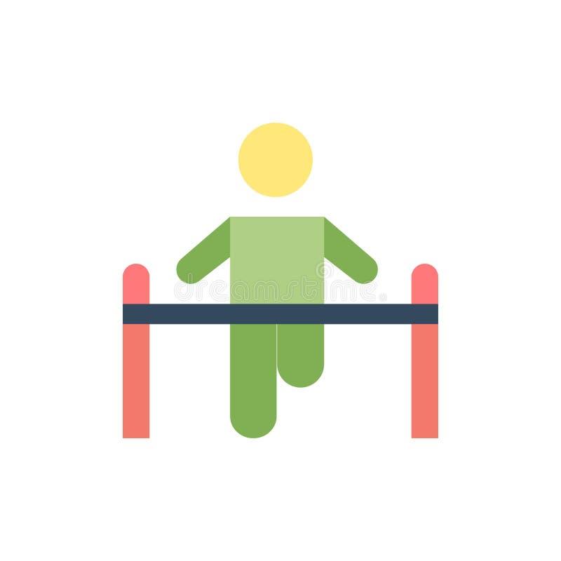 Oefening, Gymnastiek- Gymnastiek, Gezondheid, Pictogram van de Mensen het Vlakke Kleur Het vectormalplaatje van de pictogrambanne stock illustratie