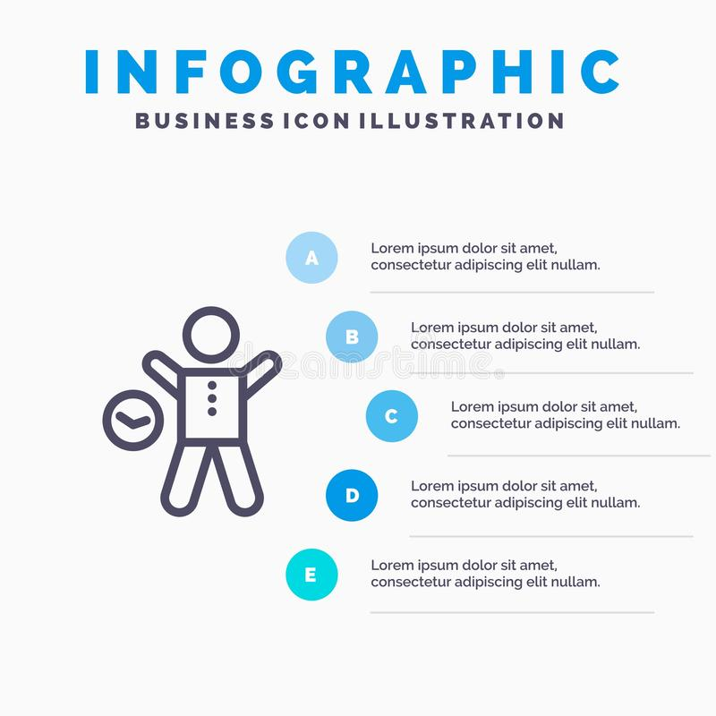 Oefening, Gymnastiek, Tijd, Gezondheid, het pictogram van de Mensenlijn met infographicsachtergrond van de 5 stappenpresentatie royalty-vrije illustratie
