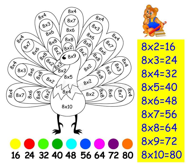 Oefening voor kinderen met vermenigvuldiging door acht - moet beeld in relevante kleur schilderen vector illustratie