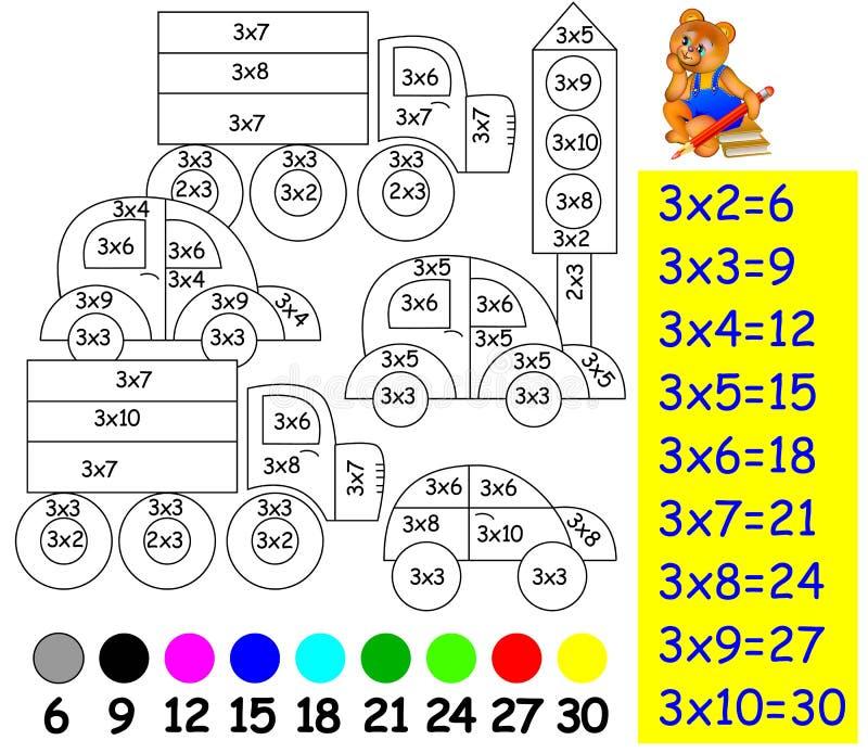 Oefening voor kinderen met vermenigvuldiging door drie - moet beeld in relevante kleur schilderen vector illustratie